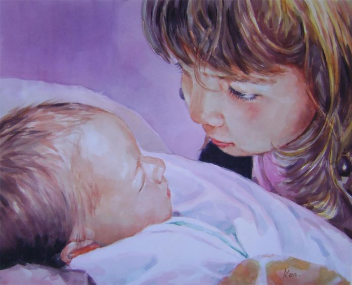 custom-watercolor-portrait-of-a-little-girl-gazing-down-upon-her-new-little-sibling